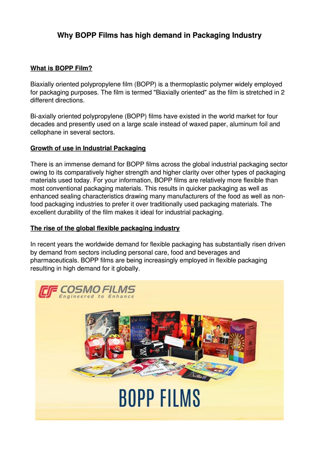 Why bopp films has high demand in packaging industry by