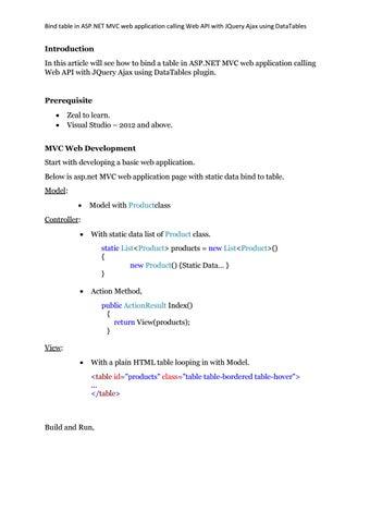 Bind table in asp net mvc web application calling web api