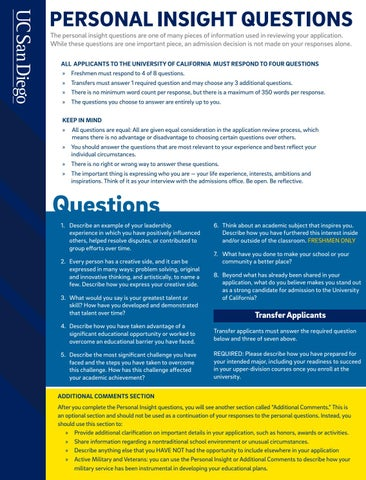 Personal Insight Questions By UC San Diego Admissions