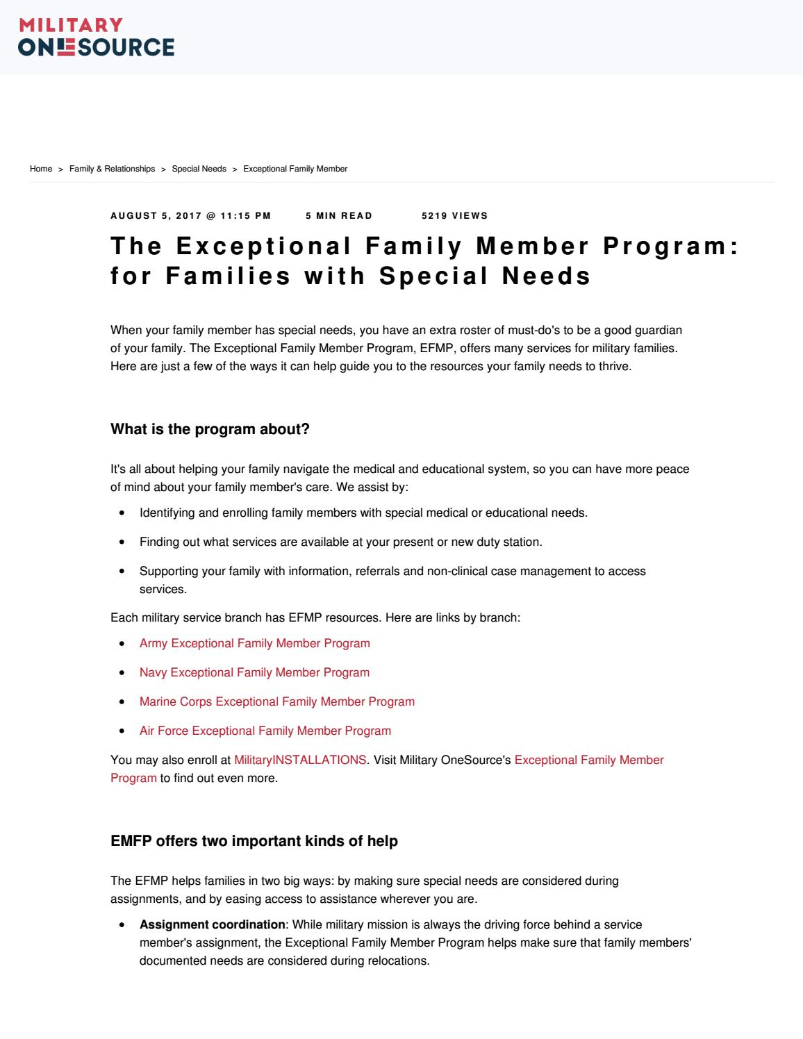 The Exceptional Family Member Program by HHC, 807th MC(DS
