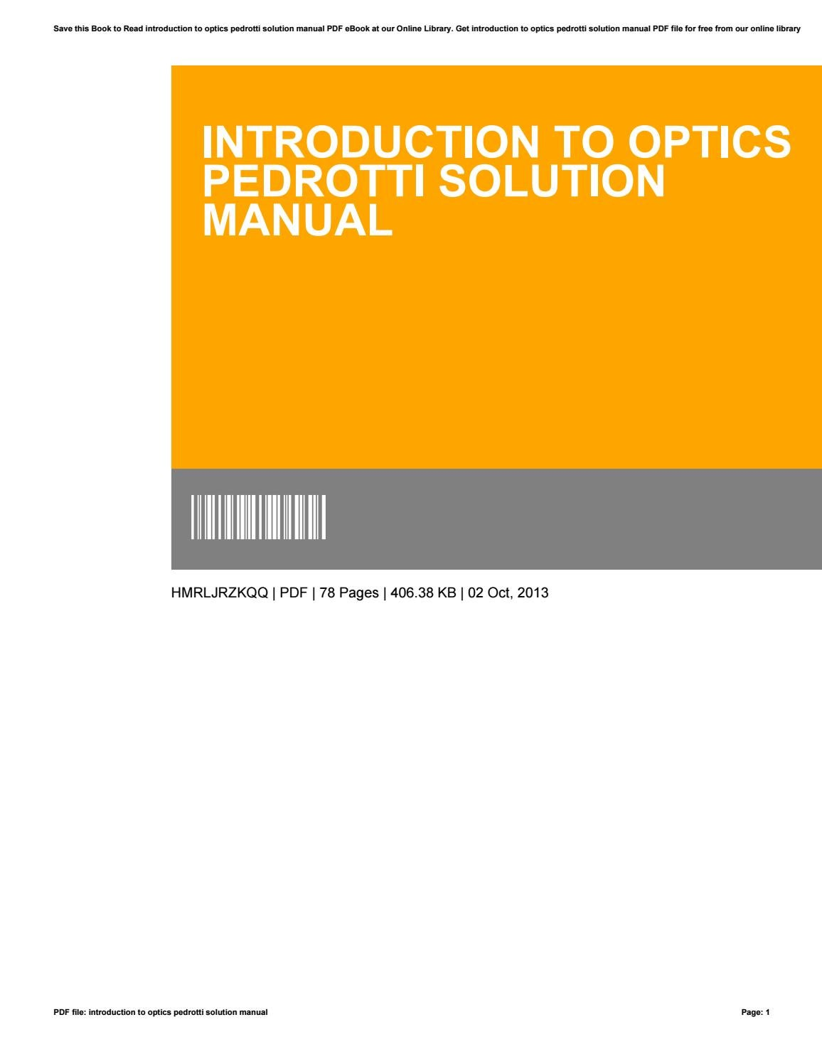 Introduction to optics pedrotti solution manual by PhyllisClayborne2528 -  issuu