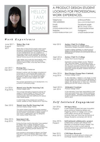 Cindy chan cv 2017 by cindylovesdecember issuu page 1 yelopaper Images