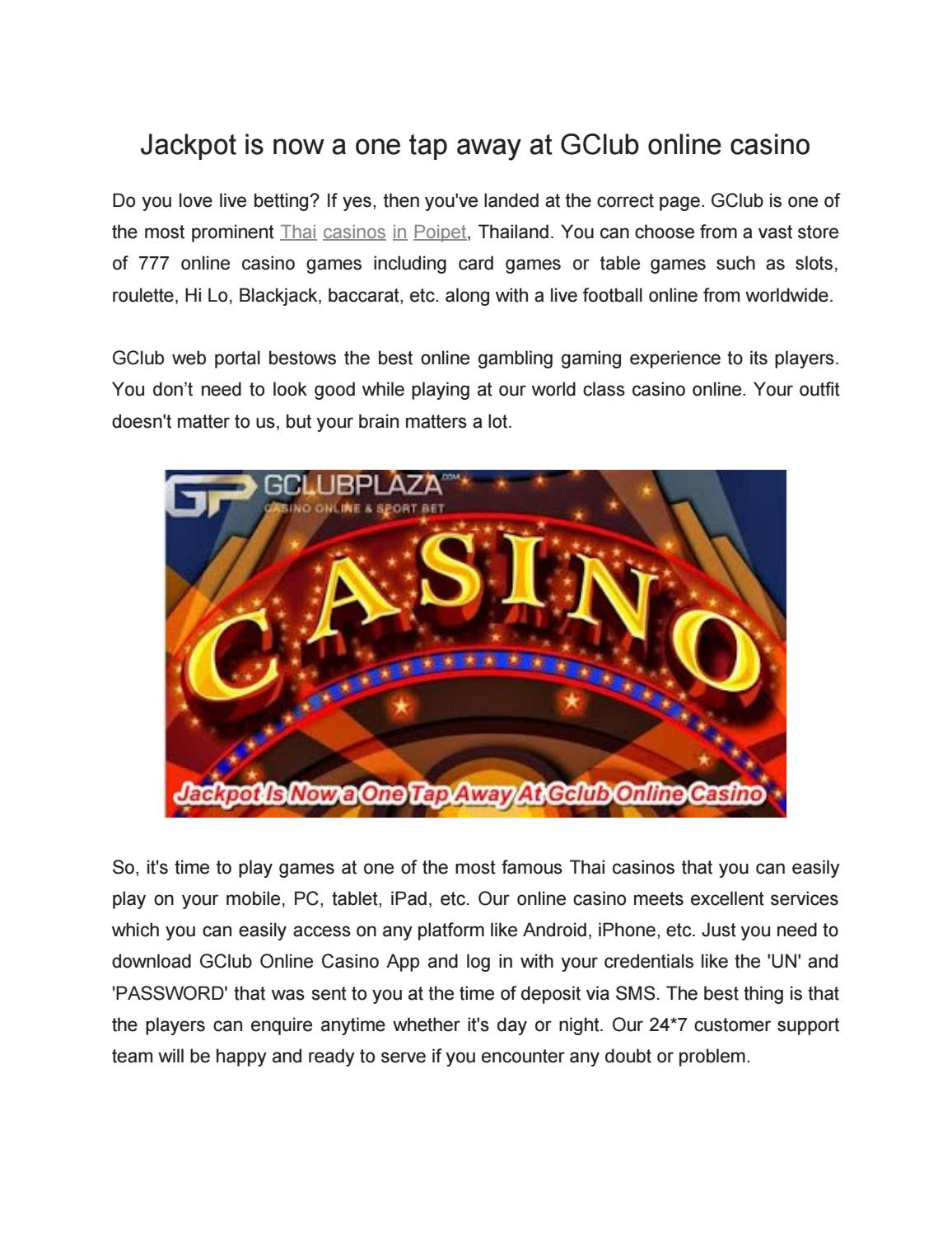 Jackpot Is Now A One Tap Away At Gclub Online Casino By Gclubplaza