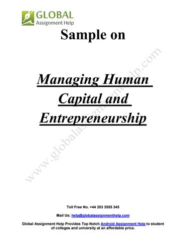 human capital and entrepreneurship We model investment in entrepreneurial human capital (ehc)—the  representative enterprise's share of production capacity allocated to investment  in innovative.