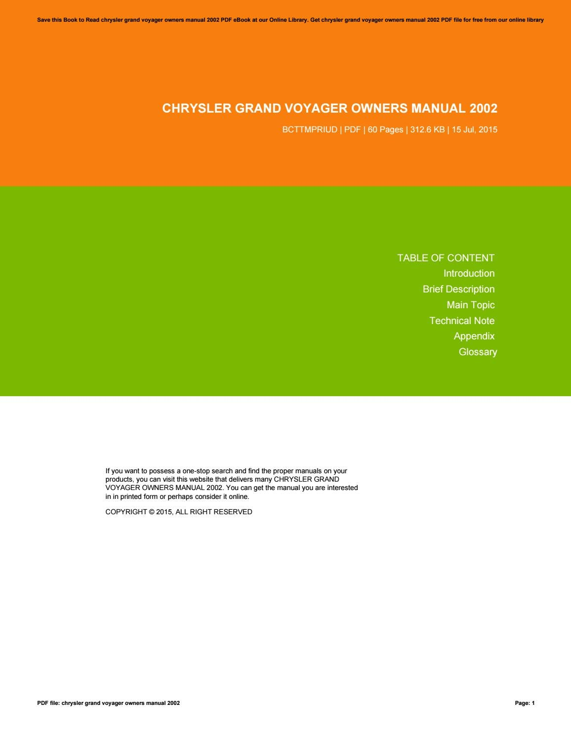 Chrysler grand voyager owners manual 2002 by RichardFox3768 - issuu