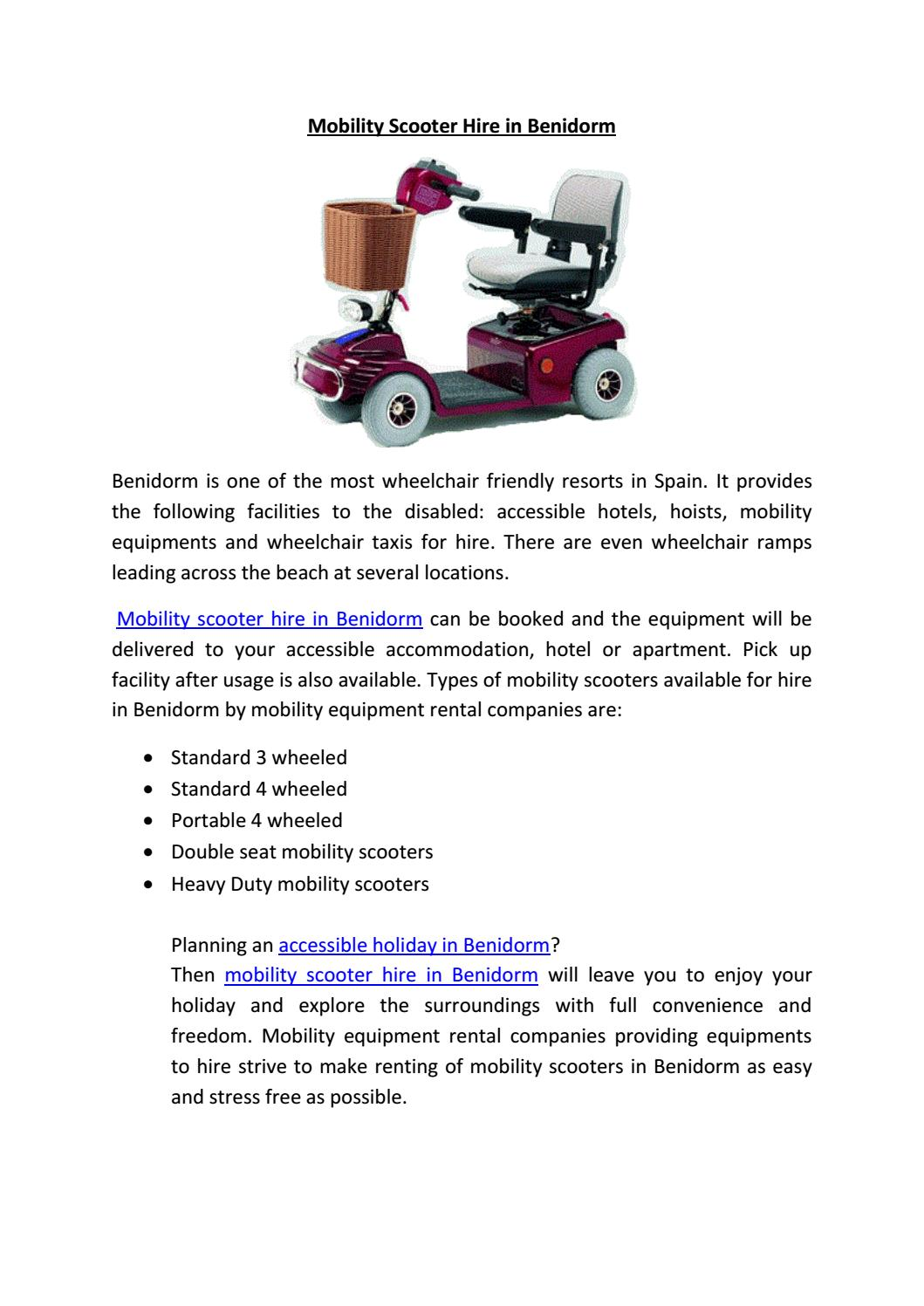 Mobility scooter hire in benidorm by Mobility Equipments