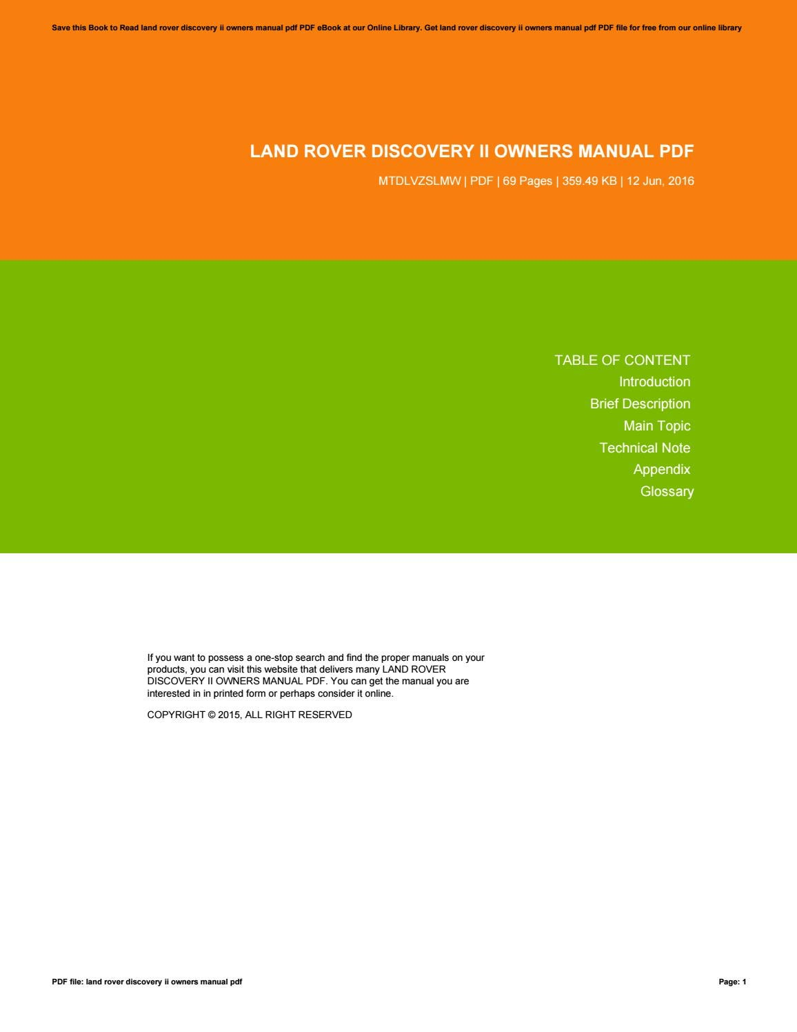 land rover discovery 2 manual online