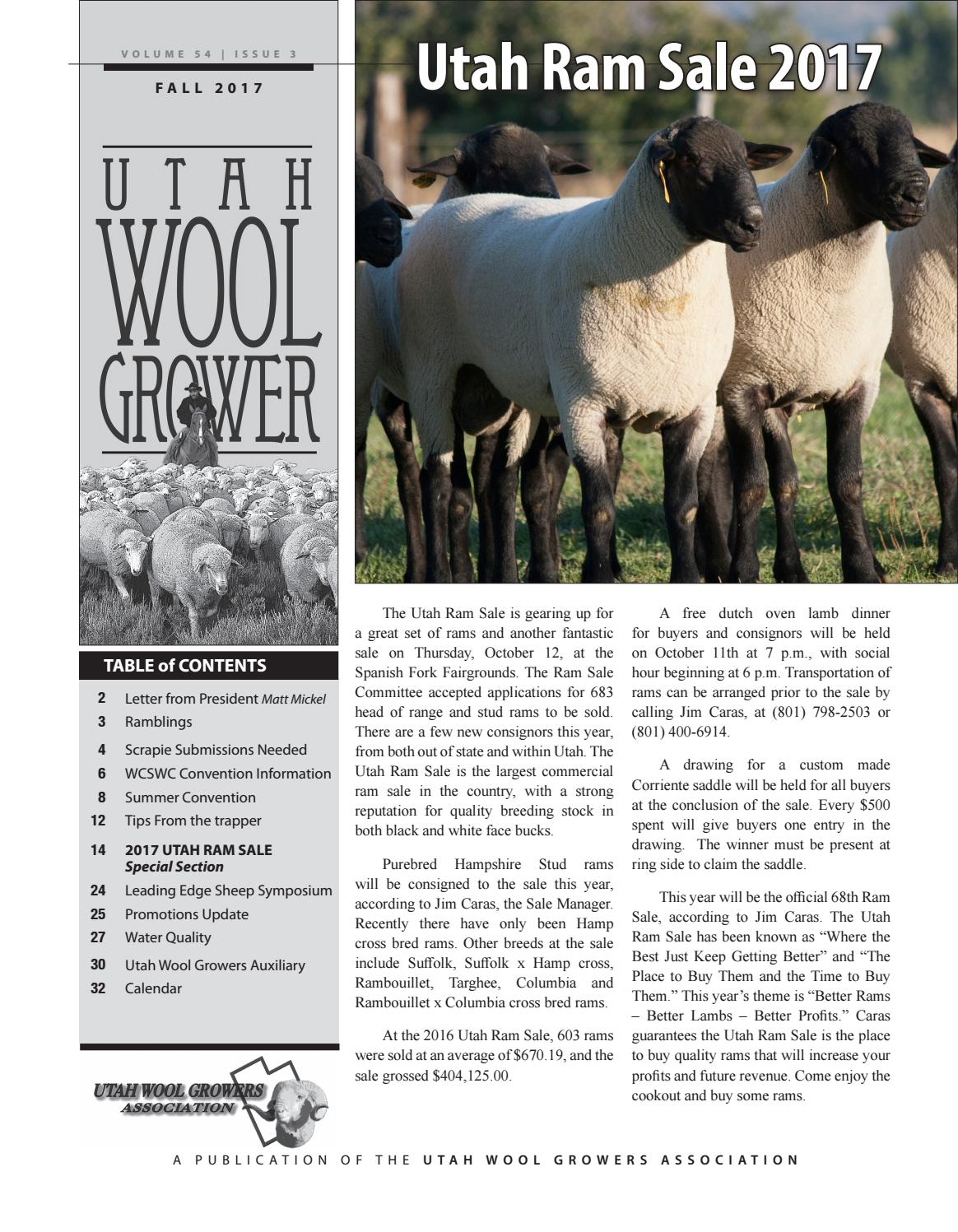 Fall 2017 newsletter by Utah Wool Growers Association - issuu