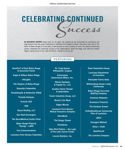 2017 Celebrating Continued Success In Baton Rouge Louisiana By Baton Rouge Business Report Issuu