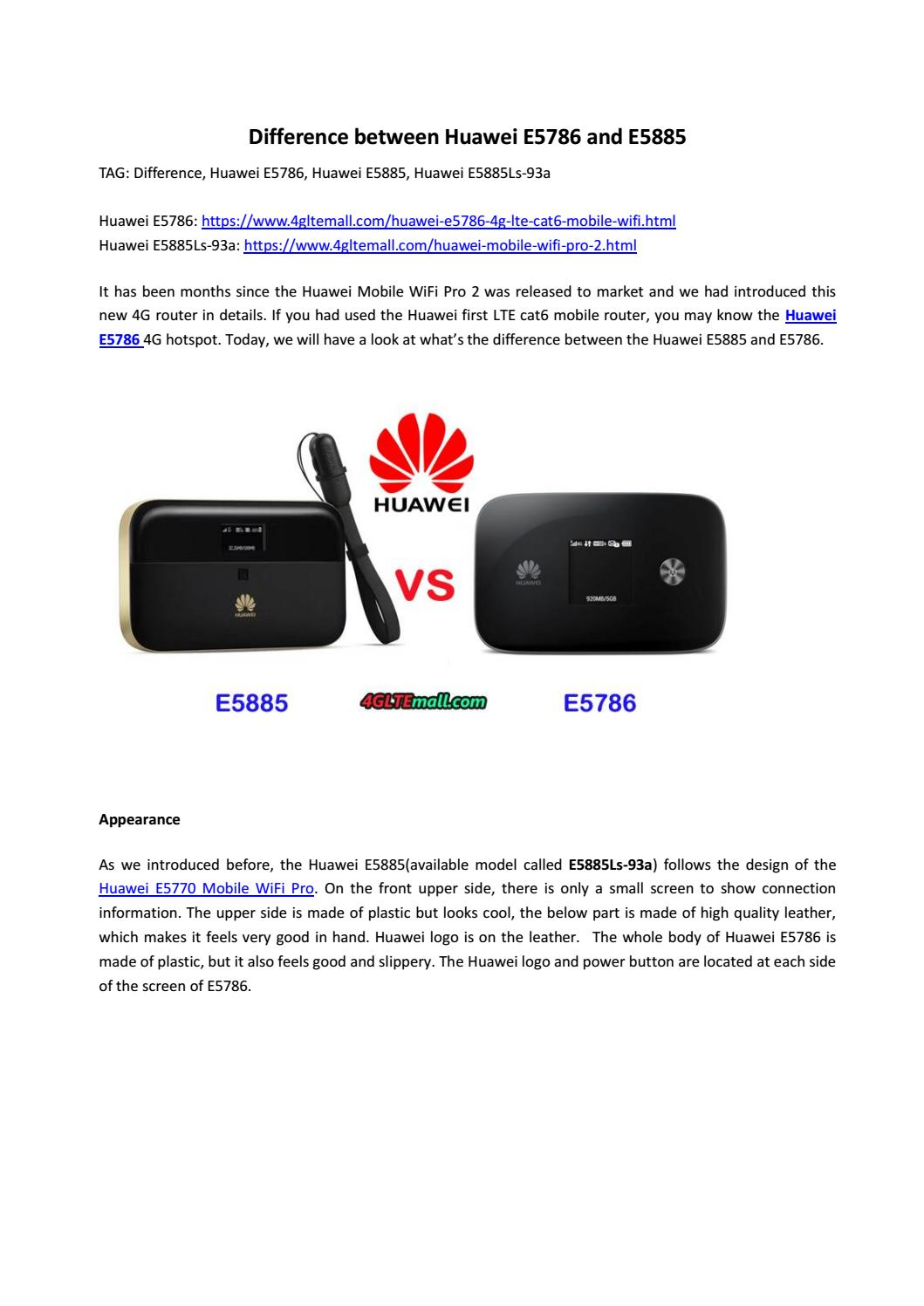 Difference between Huawei E5786 and E5885 by Lte Mall - issuu