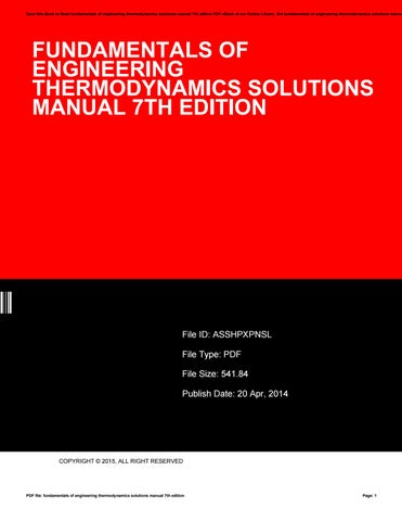 Fundamentals of thermodynamics 7th edition solution manual save this book to read fundamentals of engineering thermodynamics solutions manual 7th edition pdf ebook at fandeluxe Gallery