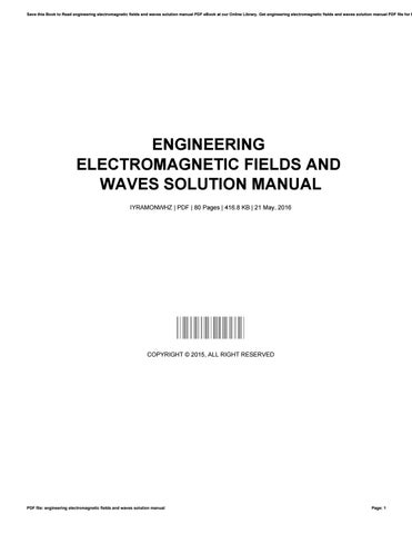 engineering electromagnetic fields and waves solution manual by lee rh issuu com james lee solution manual Textbook Solution Manuals