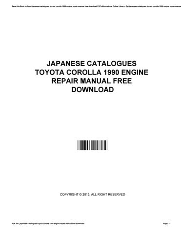 repair manual toyota corolla 1990 download