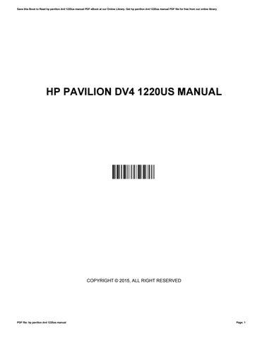 hp pavilion dv4 1220us manual by kim issuu rh issuu com HP Pavilion G7 Manual HP Pavilion Dv4 1225Dx