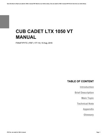 Save This Book To Read Cub Cadet Ltx 1050 Vt Manual Pdf Ebook At Our Online Library Get File For Free From