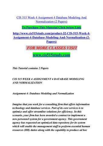 Cis 515 week 4 assignment 4 database modeling and