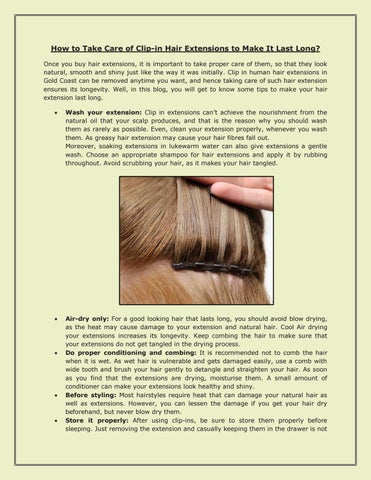 How to take care of clip in hair extensions to make it last long how to take care of clip in hair extensions to make it last long once you buy hair extensions it is important to take proper care of them pmusecretfo Gallery