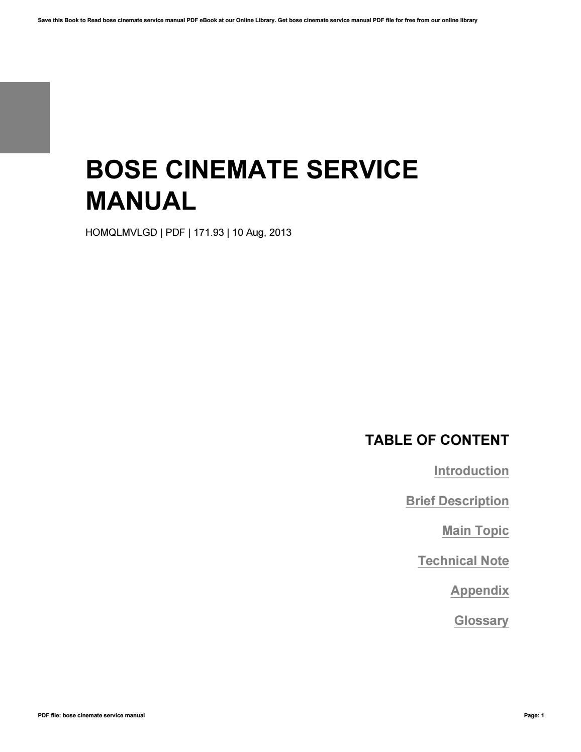 Bose cinemate service manual by Michael Underwood - issuuIssuu