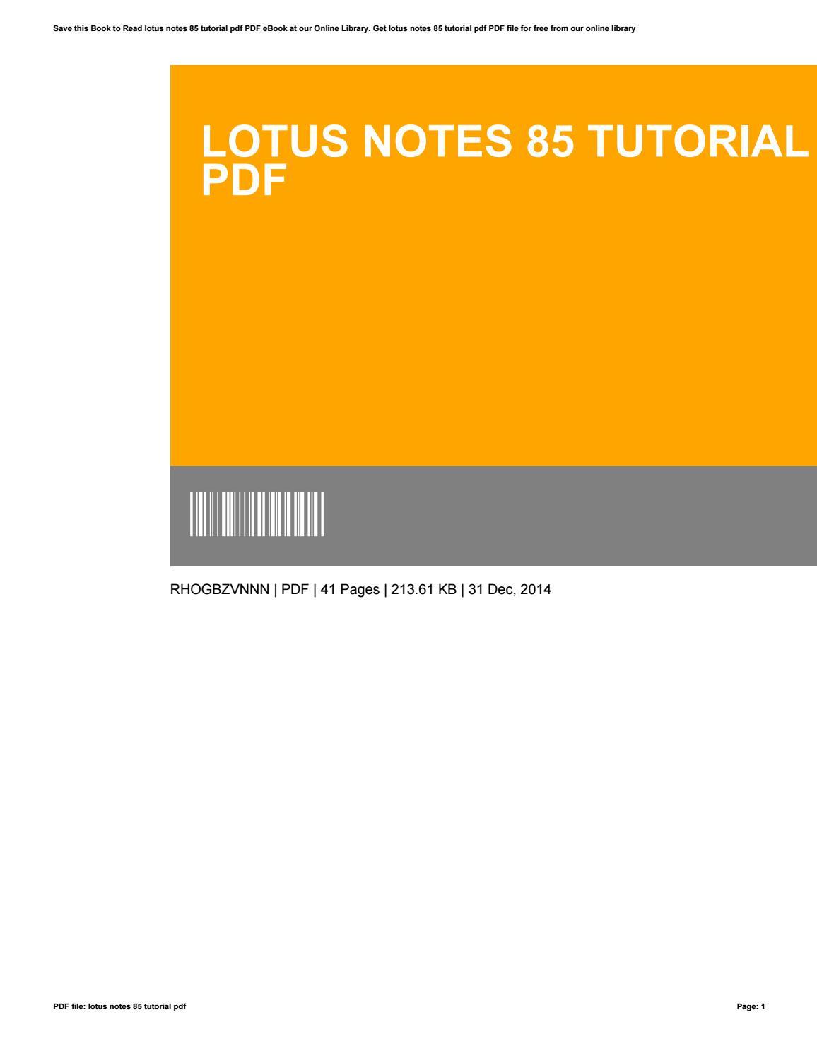lotus notes 85 tutorial pdf by steve landrum - issuu