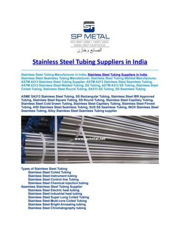 Stainless steel tubing suppliers in india by sp metal - issuu