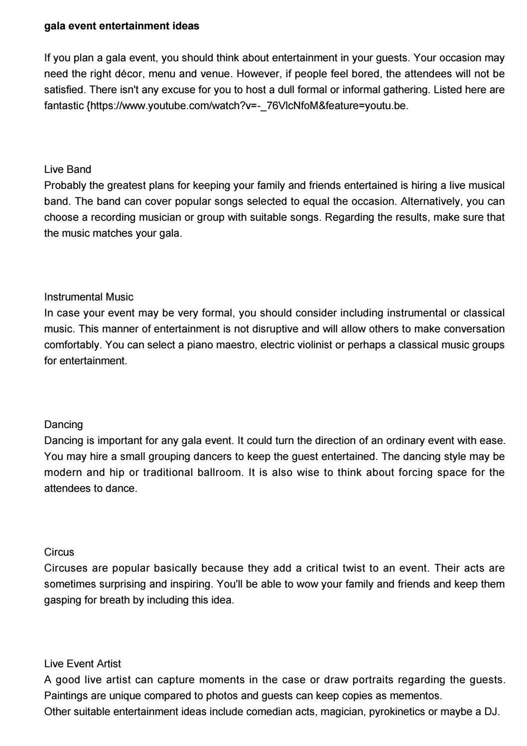 gala event entertainment ideas by galaeven61687ehei issuu