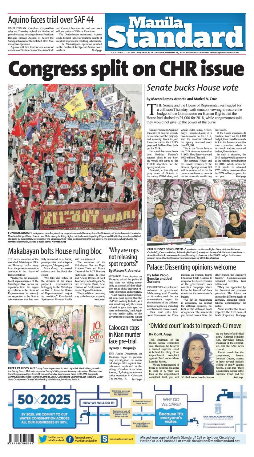 Manila Standard 2017 September 15 Friday By Manila Standard  # Pose Tele En Boi