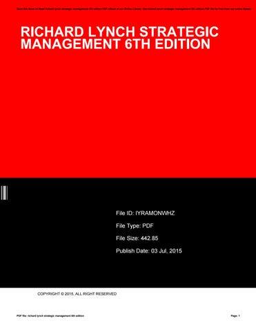 Corporate Strategy By Richard Lynch Pdf