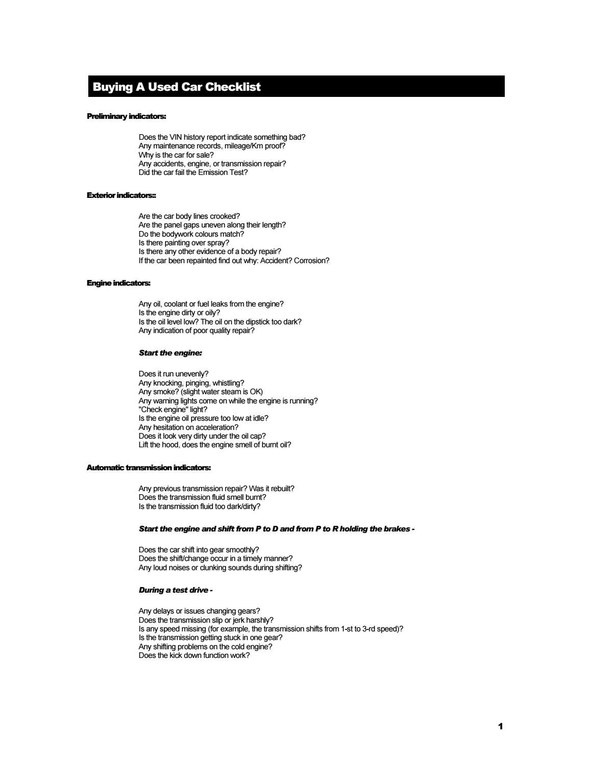 CHECKLIST] How to buy a used car by James Burchill - issuu