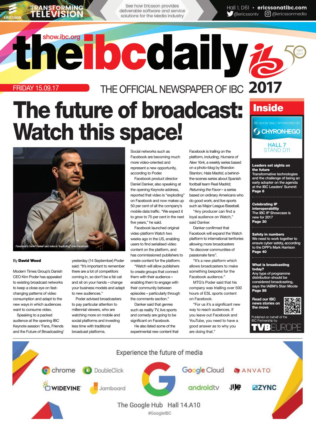 IBC2017 Daily D1 Friday 15 September 2017 by Future PLC - issuu