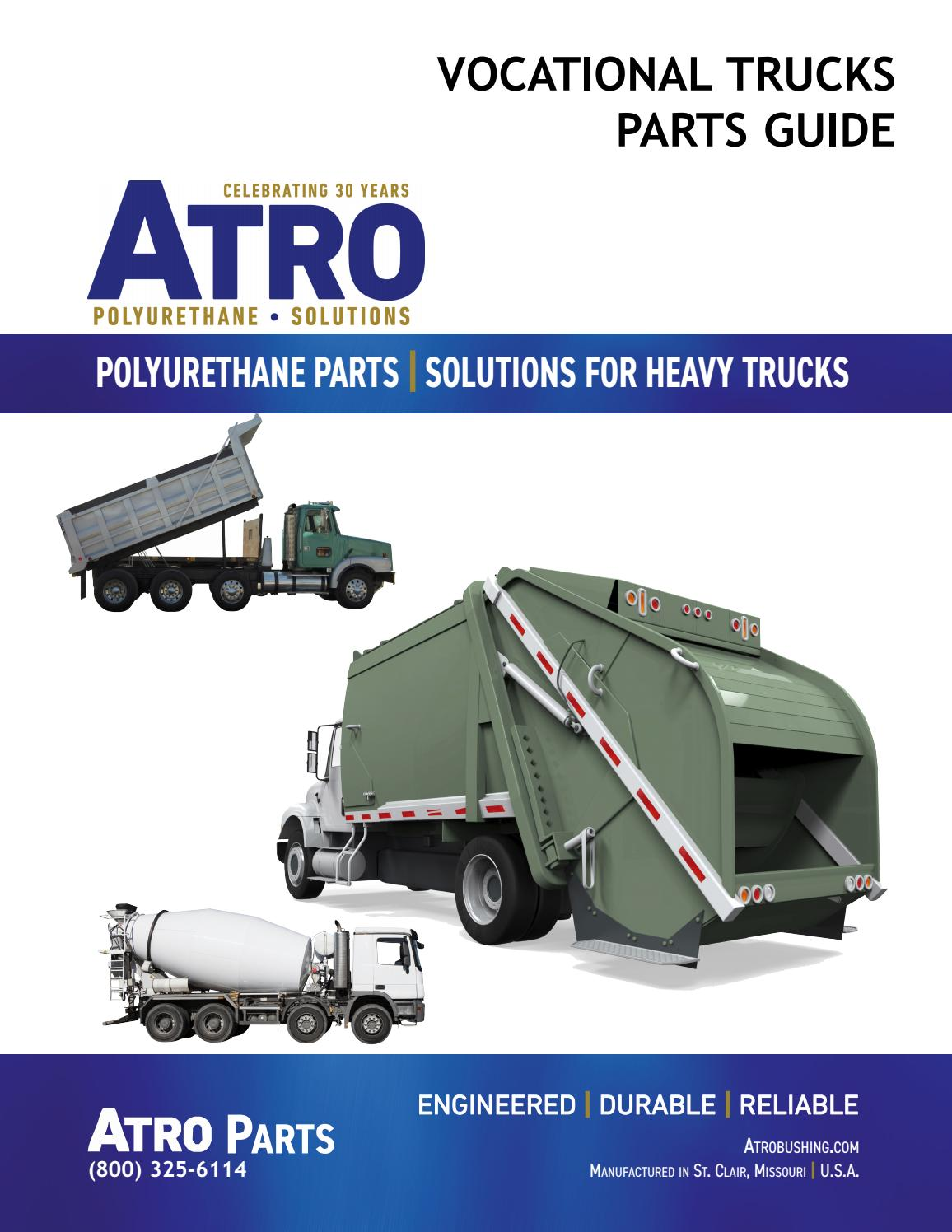 Atro HL00-64001-2 Polyurethane Freightliner /& Peterbilt Hood Latch Set 8-3//4 Long