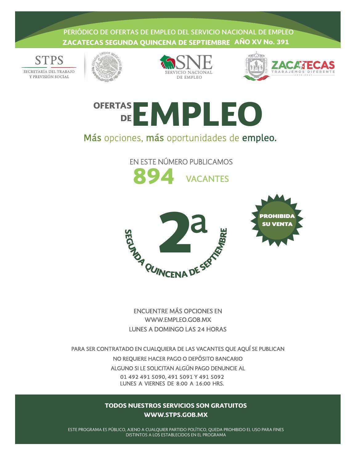 Vacantes 2da Quincena De Septiembre 2017 By Servicio Nacional Del  # Ozuna Muebles Posadas