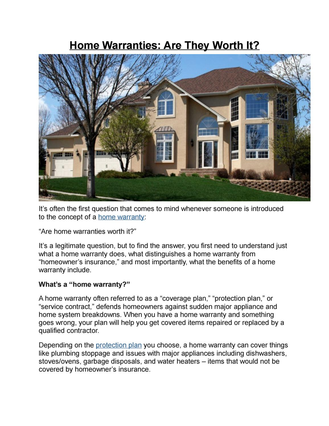 Home Warranties Are They Worth It By Select Home Warranty Issuu