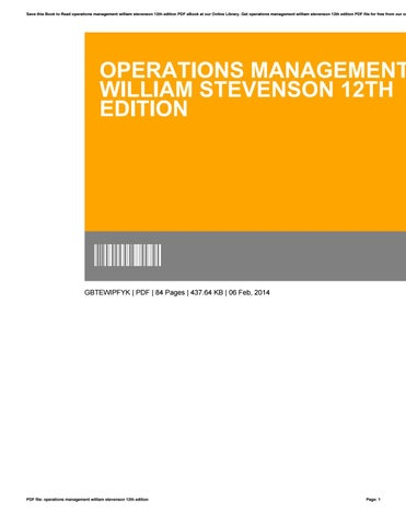 Operations management william stevenson 12th edition by