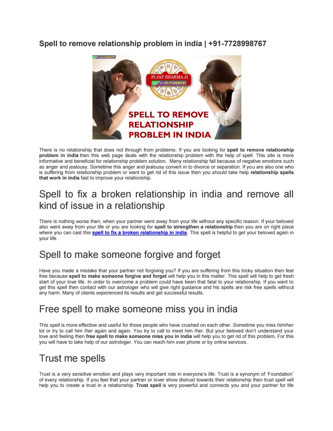 Spell to remove relationship problem in india | +91