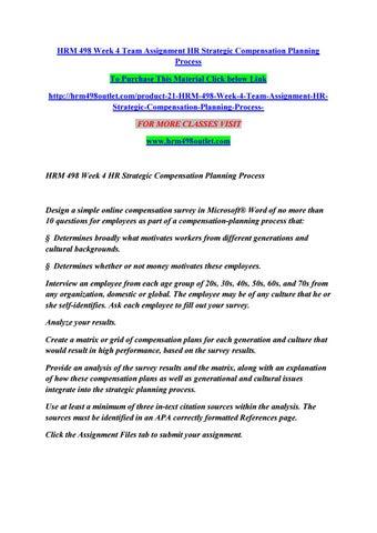 Hrm 498 week 4 team assignment hr strategic compensation planning