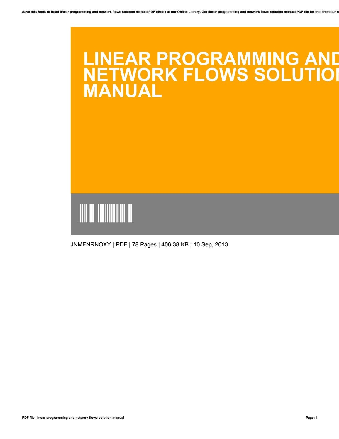bazaraa linear programming solution manual pdf