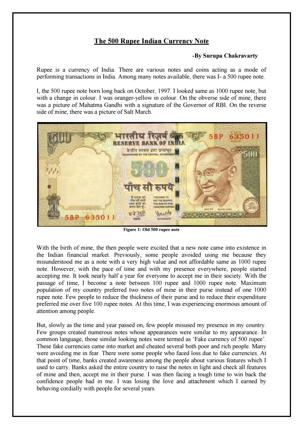 The 500 rupee Indian Currency Note by SURUPA CHAKRAVARTY - issuu
