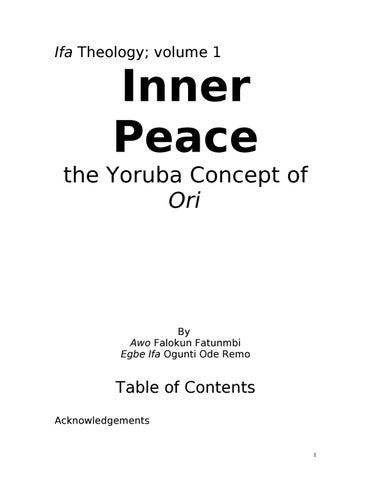 Inner peace the yoruba concept by Yaminah Figeroa - issuu