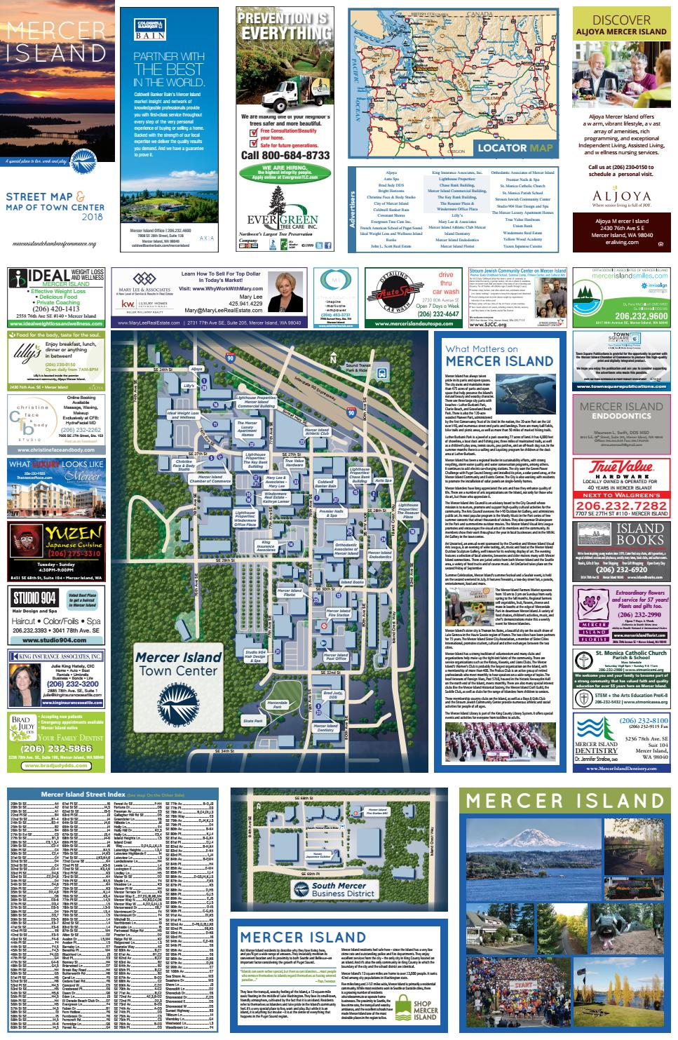 Mercer Island Wa Chamber Map 2017 By Town Square