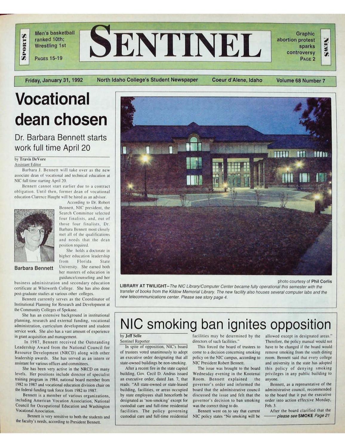 The North Idaho College Sentinel Vol 68 No 7, Jan 31, 1992