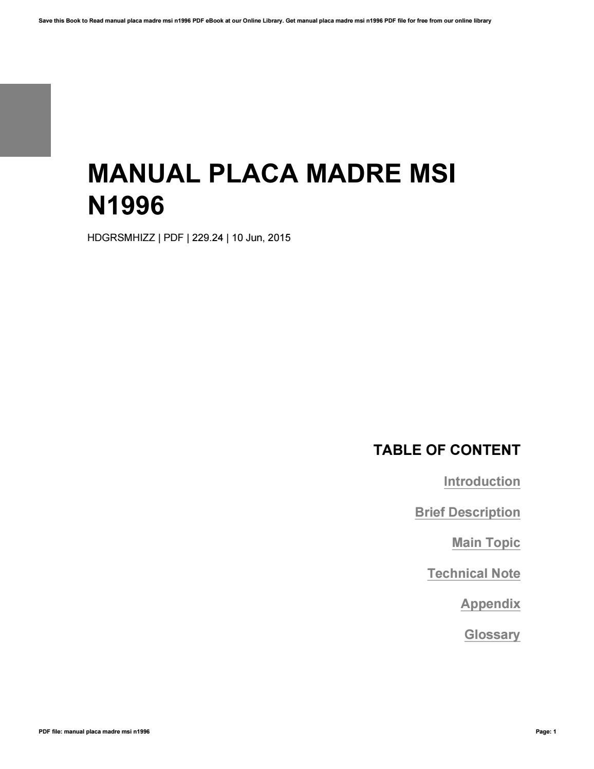 manual placa madre msi n1996 by edward issuu rh issuu com MSI N1996 Motherboard MSI N1996 AMD
