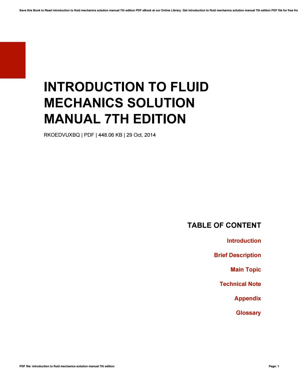 Introduction to fluid mechanics solution manual 7th edition by Cecile -  issuu