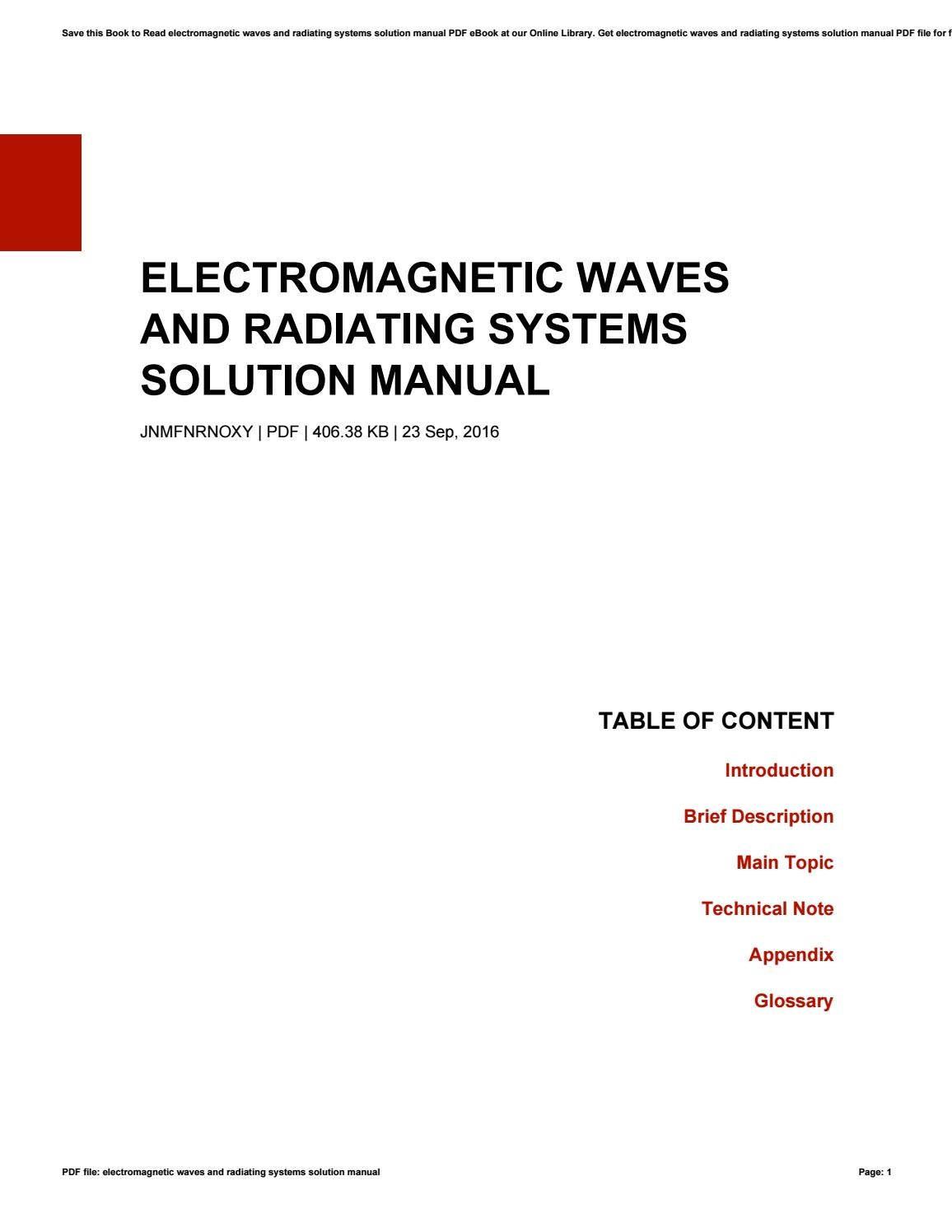 Electromagnetic waves and radiating systems solution manual by Cecile -  issuu