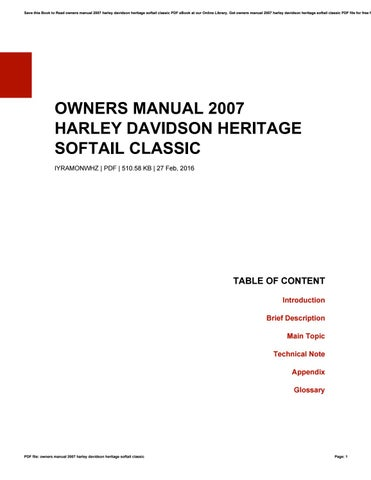 Owners manual 2007 harley davidson heritage softail classic by save this book to read owners manual 2007 harley davidson heritage softail classic pdf ebook at our online library get owners manual 2007 harley davidson fandeluxe Image collections
