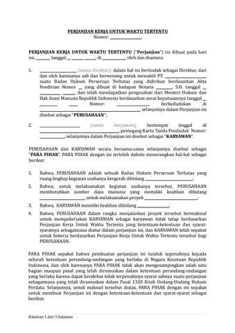 02 Draf Perjanjian Kerja Untuk Waktu Tertentu Pkwt By Arif