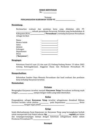 04 Draf Surat Keputusan Pengangkatan Karyawan Tetap By Arif