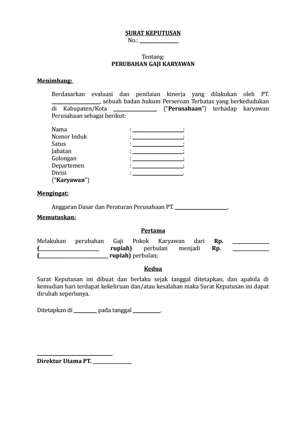 06 Draf Surat Keputusan Perubahan Gaji Karyawan By Arif