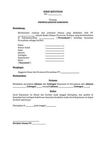 07 Draf Surat Keputusan Promosi Jabatan Karyawan By Arif