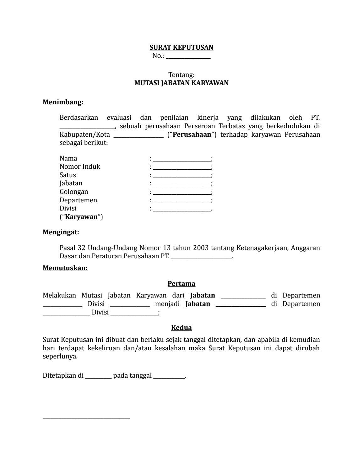 08 Draf Surat Keputusan Mutasi Jabatan Karyawan By Arif