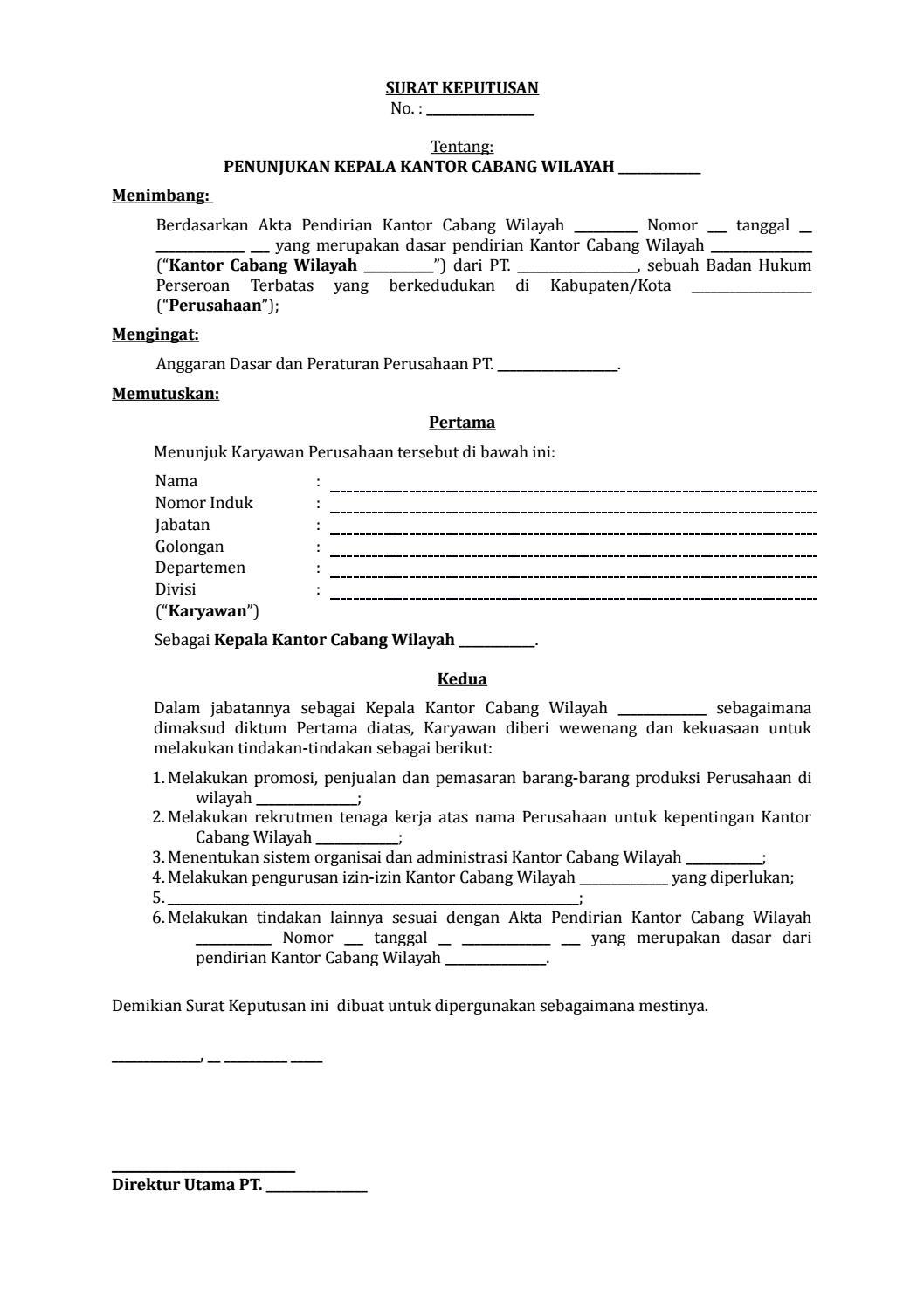 09 Draf Surat Keputusan Penunjukan Kepala Kantor Cabang By